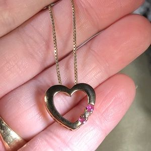 sterling silver Ross simons Ruby Heart Necklace